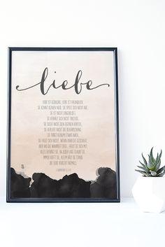 Gottes Wort als SOFORTdownload zum Ausdrucken! Bibelvers auf dem Printable: Liebe ist geduldig, Liebe ist freundlich... 1. Korinther 13,4-8