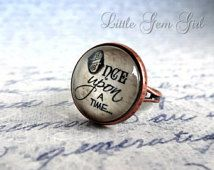 Fairytale Ring Fairytale Jewelry - Once Upon a Time Book Ring - Vintage Copper Antique Style Quote Jewelry - Fairytale Quote Wedding Ring