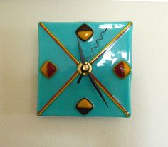 NavajoLike Design Fused Glass Clock Gorgeous by FusedGlassRocks, $32.00