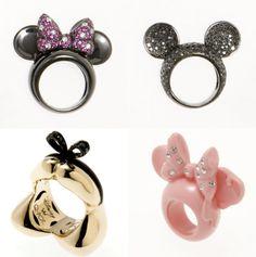 disney rings!!!!! soooooo cute! minnie mouse, mickey mouse, alice in wonderland, pink minnie mouse rings. #disneyfashion