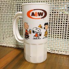 Vintage A&W Root Beer Mug, Super 22, Advertising Promo, Peanuts, Snoopy