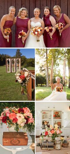 Country Autumn Wedding Colors- Deep reds, peach, pinks & touch of yellow. Something like this, but with a focus on the lighter colors.