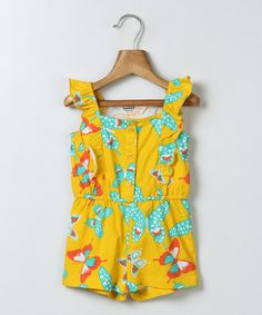 Look at this Beebay Yellow Butterfly Ruffle Romper - Infant & Girls on #zulily today!