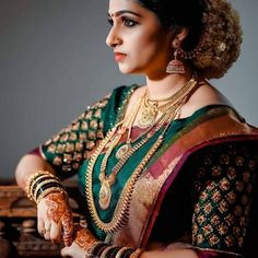Look how beautiful this bridal photoshoot looks ____________________________________________ Photography : Unknown (Please DM)… Indian Bridal Sarees, Bridal Silk Saree, Indian Bridal Outfits, Indian Wedding Jewelry, Bridal Jewelry, Gold Jewellery, Crystal Jewelry, Silk Sarees, Drape Sarees
