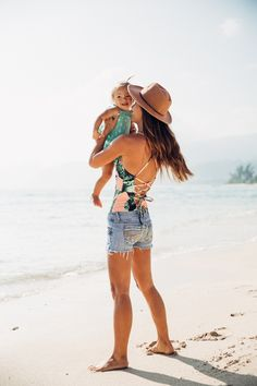 Suits so cute, you'll want to wear them in and out of the water! {The Waikiki Swimsuit} worn under jean shorts for a fun & comfortable beach girl look! | @albionfit / albionfit.com