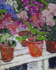 Primulas, Wilton Park Greenhouse, Hawick by Anne Redpath R.S.A. ...