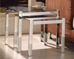 Black and Chrome Square Nest of Tables