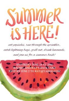 """""""Summer Bash""""  printable invitation template. Customize, add text and photos. Print or download for free!"""