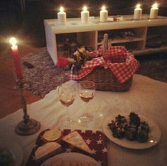 I did something similar to this for a boyfriend and he loved it! A on the floor picnic in home with candle lit is the perfect way to impress your partner!