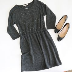 LOFT Embellished Grey Sweater Dress New, with tags beautiful grey sweater dress embellished with mini pearls and sequins from the LOFT. Cinched waist. Polyester & Rayon blend. LOFT Dresses