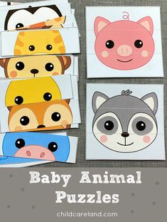 Baby animal puzzles for fine motor and visual discrimination skills. Early Learning Activities, Animal Activities, Infant Activities, Activities For Kids, Puzzles For Toddlers, Animal Puzzle, Happy Baby, Drawing For Kids, Kids Playing