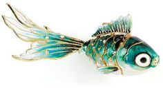 Teal Goldfish Bejeweled Articulated Cloisonne Christmas Ornament Decoration New | eBay