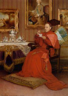 Tea Time by Belgian Painter Georges Croegaert 1848-1923