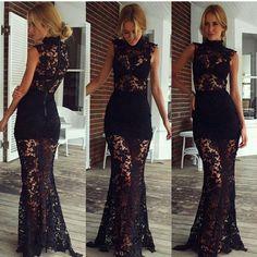 Cheap Sexy Turtleneck Tank Sleeveless Black Lace Ankle Length Dress