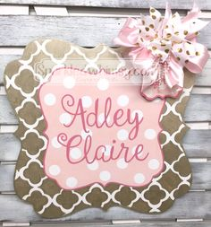 Birth Announcement Door Hanger Personalized by SparkledWhimsy Pet Gifts, Baby Gifts, Baby Girl Birth Announcement, Unusual Baby Names, Baby Door, Hospital Door Hangers, Quatrefoil, Future Baby, Girl Nursery