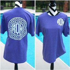Monogrammed ikat Circle Shirt. Monogrammed Shirt. Bridesmaids Gifts. ($16) ❤ liked on Polyvore featuring tops, t-shirts, circle top, beach shirts, summer beach tops, summer tees and blue shirt