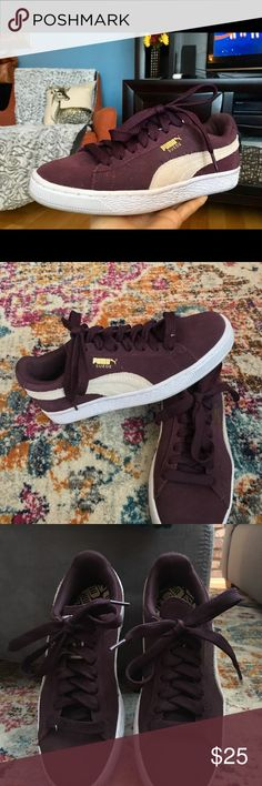 Puma Suede Classical Sneakers Dark purple Puma suede classic sneakers, only worn once and in excellent condition.  No trades and offers always welcome☺️ Puma Shoes Sneakers
