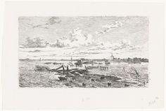 Cornelis Springer | Overstroomd landschap tussen Oss en Lith, Cornelis Springer, Cornelis Koster, 1855 | De weg tussen Oss en Lith in een overstroomd landschap tijdens de watersnood in maart 1855.