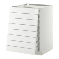 METOD Base cabinet 8 fronts/8 low drawers - white, Ringhult high-gloss white, 60x60x80 cm, Fö - IKEA