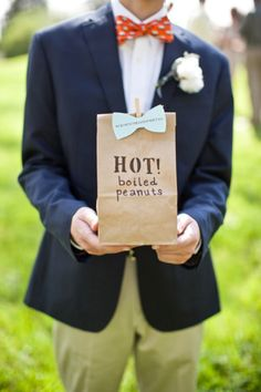 southern wedding favors...hot boiled peanuts! I hate them but they are soooooo southern and inexpensive!