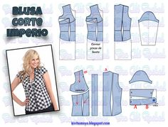 KiVita MoYo : BLUSA CORTE IMPERIO Fashion Sewing, All Fashion, Sewing Hacks, Sewing Tutorials, Modelista, Techniques Couture, Make Your Own Clothes, Easy Sewing Patterns, Blouse Patterns