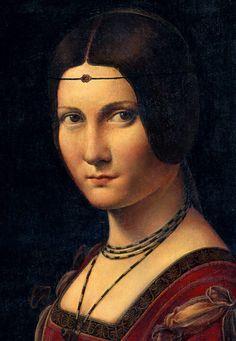 La Belle Ferronnière - Leonardo da Vinci (Louvre, Paris) - La Belle Ferronnière est un tableau de 62 × 44 cm peint entre 1495 et 1497 sur un panneau en bois de noyer1 et exposé au Musée du Louvre à Paris. Il est attribué à Léonard de Vinci et à son atelier. Elle est représentée de trois quart, sa tête tournée vers le spectateur mais son regard le fuyant (avec une expression non dénuée de froideur, voire de secrète dureté).