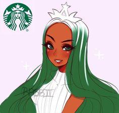 i barely go to starbucks but damn ;>>>>>> rasbii slay me Cartoon As Anime, Cartoon Art, Anime Art, Cartoon Characters As Humans, Starbucks Art, Cute Art Styles, Anime Version, Black Girl Art, Aesthetic Art