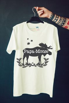 Papa Moose, Woodland, Rustic, Tribal, Boho, Men's, Tee, T-Shirt, TShirt, Top, Shirt, Outfit, Organic, Made in USA