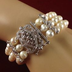 Filigree Pinkish Pearls Bracelet - platinum 1/4ct diamond clasp! Lead Free, Hypoallergenic! (MINT - NEVER WORN!!!)| B618 |We combine shipping|No Question Refunds|Bid $60 for free shipping. Starting at $1