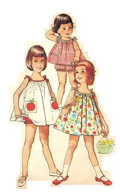 Simplicity 5006 Vintage Super Cute Little Girls Dress, Top and Panties with Transfer Included Sewing Pattern Size 5 Toddler Sewing Patterns, Sewing For Kids, Vintage Sewing Patterns, Cute Little Girl Dresses, Cute Little Girls, Vintage Baby Clothes, Baby Girl Fashion, Vintage Children, Kids Wear
