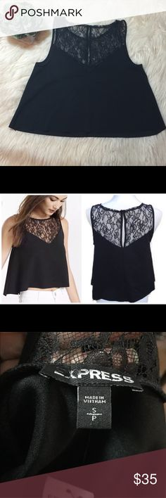 Express Lace Yoke Midriff Top Beautiful flowy Crop Top by Express. The a-line cut gives this top a bit of swing. It features an front and back Lace yoke with a long keyhole and button closure in the back. Very cute for a date night! Size small. Express Tops Crop Tops