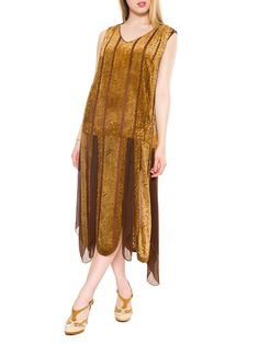 - Product Description - Measurements DETAILS Golden silk velvet lies atop a field of chocolate brown chiffon in this art deco era flapper dress. The bodice is cut straight and loose to the drop waist.