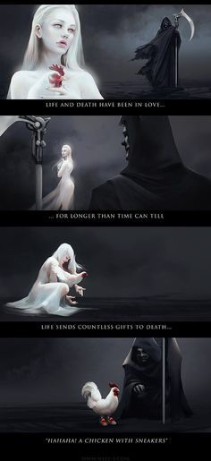 """nellfallcard: """"Life and Death have been in love, for longer than time can tell. Life sends countless gifts to Death… """" Must share this for Feathered Friday, IT'S SO GOOD Artist process:. Cute Comics, Funny Comics, Creepypasta, John Johnson, Life And Death, Funny Cute, Funny Posts, Popular Memes, Funny Pictures"""