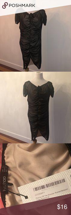 0ceb4da353cb Shop Women's Boohoo Plus Black Cream size 20 Dresses at a discounted price  at Poshmark. Description: BooHoo Plus Off The Shoulder Ruched Bodycon Dress  Size ...