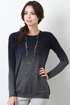Keep your wardrobe looking chic with this Downcast Gradient Top! This top features soft knit, round neckline, dip-dye design, long sleeves, and finished with rib knit hem.