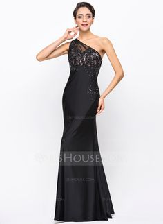 Trumpet/Mermaid One-Shoulder Floor-Length Beading Appliques Lace Zipper Up at Side Regular Straps Sleeveless No Black Spring Summer Fall General Plus Jersey Evening Dress