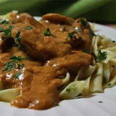 Nana's Beef Stroganoff - Allrecipes.com. This was really yummy! (I used grd beef, no mushrooms, and no tomato paste.)