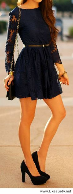 Navy Floral Lace Dress would look great with my camel colored booties! Passion For Fashion, Love Fashion, Fashion Beauty, Womens Fashion, Fashion Ideas, Dress Fashion, Fashion Black, Street Fashion, Spring Fashion