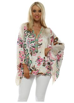 Stylish My Story beaded available online now at Designer Desirables. Browse more tops and enjoy free UK standard delivery on all orders. Going Out Tops, Beaded Top, Green Print, V Neck Tops, Pink And Green, Night Out, Looks Great, Floral Tops, Bell Sleeve Top