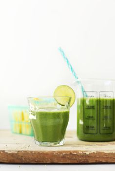 Ginger Colada Green Smoothie: ginger, banana, pineapple, greens, lime juice and coconut milk