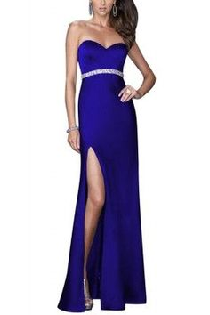 Diva Strapless Split Blue Maxi Dress Evening Gown