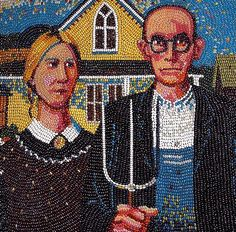 Lou and her husband American Gothic Painting, Grant Wood American Gothic, American Gothic Parody, American Art, Mona Lisa, Group Art Projects, Art Grants, Famous Artwork, Arts Ed