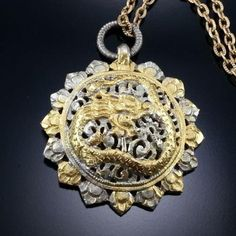 Vintage Dragon Pendant Necklace Asian Chinese Filigree Gold Silver Charm Estate