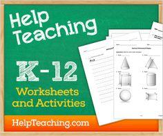 Free Printable Worksheets for K-12