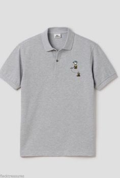 New Men's Lacoste Charlie Brown Polo Shirt Edition Peanuts Silver Chine Gray | eBay