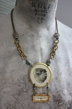 Prize Pig An Antique Assemblage Necklace Pig by AgeBeforeBeauty