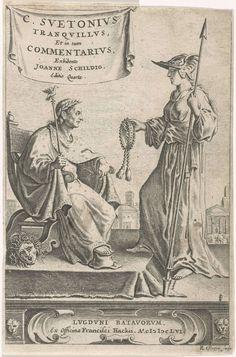 Reinier van Persijn | Piëdestal met een keizer op zijn zetel, Reinier van Persijn, Franciscus Hackius, 1656 | Op een piëdestal zit een keizer op zijn troon, waarnaast een Medusahoofd. Zijn voet rust op een hoge hoed; in zijn hand een staf waarop een vogel. Minerva biedt hem een keten aan. Linksboven op een doek de titel in het Latijn. Onderaan op een cartouche een impressum in het Latijn.