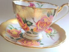 Queen Anne Tea Cup and Saucer, Yellow Rose Teacups, Tea Cups and Saucers, Tea Set, Bone China Tea Cups, Gold Cups, Big Rose Cups by AprilsLuxuries on Etsy