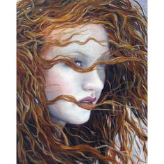 Grace 8x10 Open Edition Giclee Portrait Art Print Pale Redhead Woman... ($23) ❤ liked on Polyvore featuring home, home decor, wall art, giclee wall art, texas wall art and art deco home decor