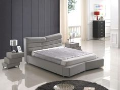 Bedroom  Furniture Modern  Bedrooms 5190 Grey Bed + N519 Nightstands